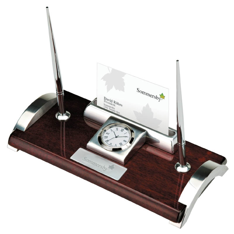 Clock Business Card Holder Pen Stand